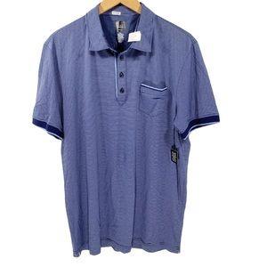 NWT Saks Fifth Avenue Blue-Striped Polo Slim Fit
